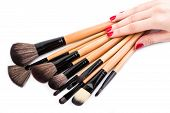 Various Makeup Brushes Isolated Over White. Wooden Makeup Brushes. Duo Fibre Foundation Makeup Brush poster