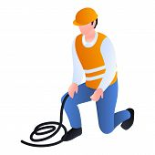 Construction Man With Rope Icon. Isometric Of Construction Man With Rope Vector Icon For Web Design  poster