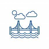 Bridge, San Francisco Line Icon Concept. Bridge, San Francisco Flat  Vector Symbol, Sign, Outline Il poster