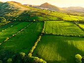 Aerial View Of Endless Lush Pastures And Farmlands Of Ireland. Beautiful Irish Countryside With Emer poster