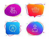 User Info, Music Phone And Shopping Basket Icons Simple Set. Engineer Sign. Update Profile, Radio So poster