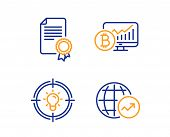 Certificate, Bitcoin Chart And Idea Icons Simple Set. World Statistics Sign. Diploma, Cryptocurrency poster