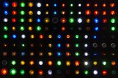 Many Kind Colorful Sample Of Status Lamp Or Push Button Switch For Show Emblem Or Signal Industrial  poster