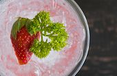 Red Italian Soda Cold Beverage And Strawberry Fruit And Parsley. Red Italian Soda Cold Beverage With poster