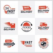Worldwide Shipping, Delivery Signs And Logo. Signs And Labels Free Delivery. Fast Delivery Logotype. poster