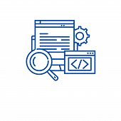 Website Development Line Icon Concept. Website Development Flat  Vector Symbol, Sign, Outline Illust poster