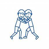 Wrestling, Fight Line Icon Concept. Wrestling, Fight Flat  Vector Symbol, Sign, Outline Illustration poster