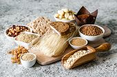 Gluten Free Diet Concept - Selection Of Grains And Carbohydrates For People With Gluten Intolerance, poster