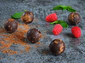 Chocolate Truffle, Raspberry And Mint. The Concept Of A Chocolate-raspberry Dessert. Chocolate Truff poster