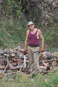 image of machete  - Man with machete chop logs for firewood - JPG