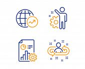 World Statistics, Report And Employee Icons Simple Set. Recruitment Sign. Global Report, Presentatio poster