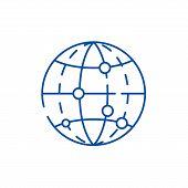 Global Data Encryption Line Icon Concept. Global Data Encryption Flat  Vector Symbol, Sign, Outline  poster