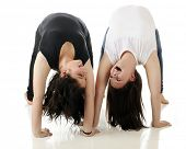 stock photo of tween  - Two tween laughing as they look at each other upside down in mutual back - JPG