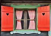 picture of chalet  - Colorful Wooden Chalet Window - JPG