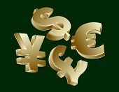 pic of yen  - Golden currency symbols  - JPG