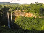 image of chamarel  - Chamarel Waterfalls on Mauritius in the bright evening sun - JPG