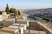 stock photo of gethsemane  - Ancient Jewish cemetery on the Mount of olives in Jerusalem - JPG