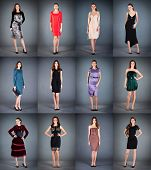 Collection of women's dresses on a dark background