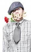 foto of saying sorry  - Funny Young Man Asking For Forgiveness While Saying Sorry With Love And A Red Rose On White Background - JPG