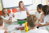 image of students classroom  - Students in art class with teacher showing a drawing - JPG