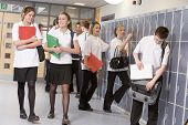 image of hair integrations  - Secondary school students in a school hallway - JPG