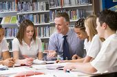 picture of student teacher  - Students and teacher in a study group collaborating - JPG