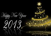 2013 new years illustration with christmas tree and snowflakes on black background