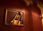 image of genie  - Lamp genie in the box in the interior in oriental style - JPG