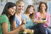 foto of healthy eating girl  - Students having lunch - JPG
