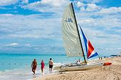 VARADERO,CUBA-NOVEMBER 3:Tourists enjoying the beach November 3,2012 in Varadero.With over a million