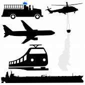 picture of rotor plane  - oil tanker fire engine helicopter plane and train silhouettes - JPG