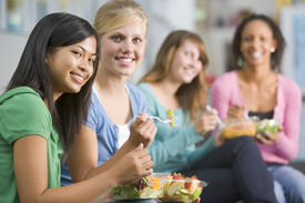 picture of healthy eating girl  - Students having lunch - JPG