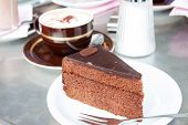 foto of torte  - Slice of a Sacher torte a chocolate cake