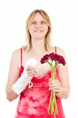 stock photo of feeling better  - Beautiful woman is happy that her finger feels better - JPG