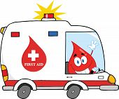 stock photo of blood drive  - Red Blood Drop Cartoon Character Driving Ambulance Car - JPG