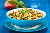 Spaghetti with Pesto, Pomegranate and Almonds