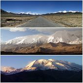 foto of karakoram  - Composition of panoramic views of the Karakoram which is a large mountain range spanning the borders between Pakistan India and China located in the regions of Gilgit - JPG