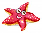 stock photo of bulge  - Illustration of a smiling starfish on a white background - JPG