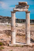 Temple near South Gate in Hierapolis ancient Greco-Roman and Byzantine city.