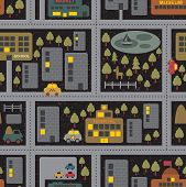 stock photo of traffic rules  - Cartoon map seamless pattern of summer city by night - JPG