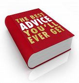stock photo of pamphlet  - A red book with the title words The Best Advice You - JPG