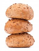 Three hamburger bun or roll with sesame seeds isolated on white background cutout