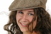 foto of newsboy  - Isolated portrait of a teen girl wearing an ivy cap - JPG