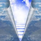 stock photo of stairway  - Stairway in sky is revealed - JPG