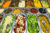 image of buffet  - A variety of salads at a buffet - JPG