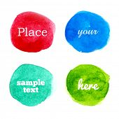 Bright colorful vector watercolor circles for your design, set of four watercolor blot elements