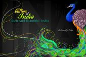 image of ashok  - vector illustration of Indian flag colored decorated peacock - JPG