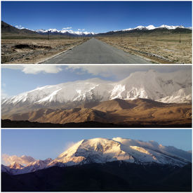 picture of karakoram  - Composition of panoramic views of the Karakoram which is a large mountain range spanning the borders between Pakistan India and China located in the regions of Gilgit - JPG