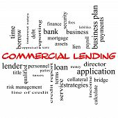 stock photo of lien  - Commercial Lending Word Cloud Concept in red caps with great terms such as loan fees business plan and more - JPG