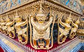 stock photo of garuda  - A close up of a Garuda sculpture at Thailand Royal palace Bangkok Thailand - JPG
